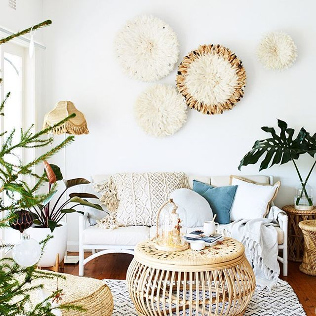 Greenery, rattan and a pile of cushions from @jessi_dreamcatcher_designs home = the perfect interior for a chilled-out Saturday. (Also loving the juju hats on the wall!)  Photography @lynden_foss | Styling @taper_jean_girl @citizens__of__style