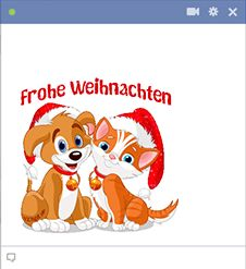 These adorable holiday pups would love to wish your Facebook friends a Merry Christmas in German!