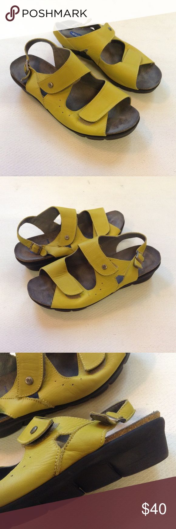 Wolky Sandals Comfort Leather Green hook and loop Gently worn. Inventory b2-1.4 Wolky Shoes Sandals
