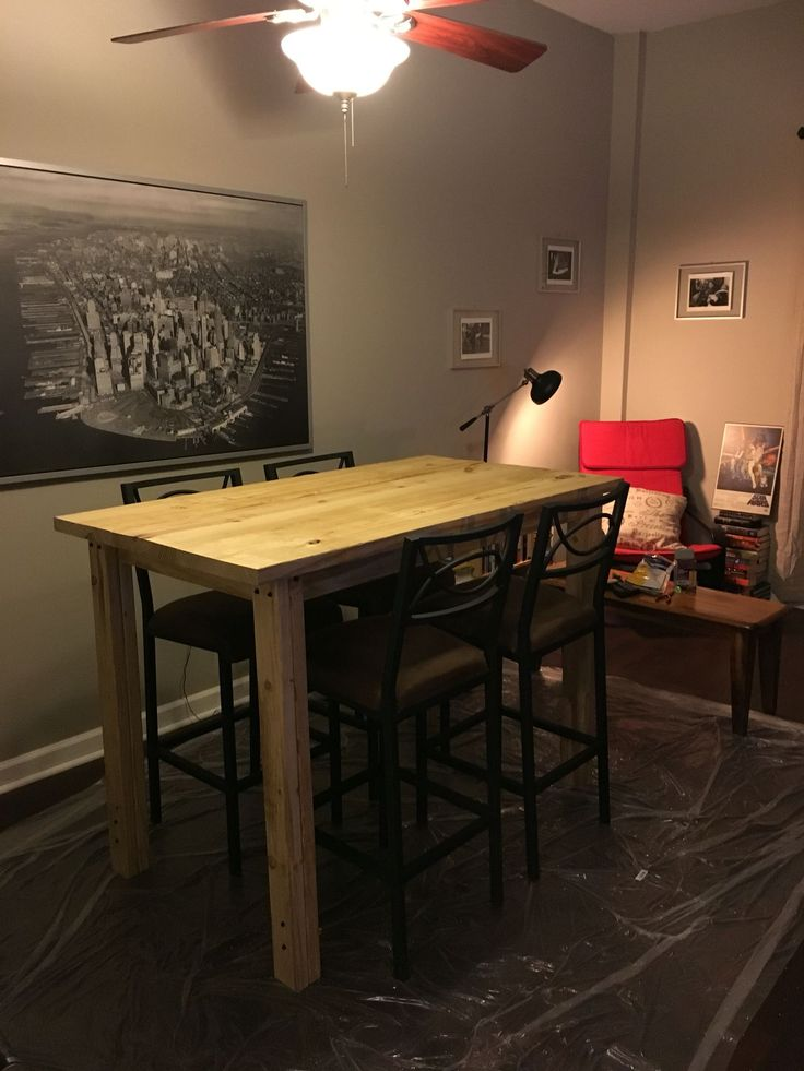 Diy Bar Height Farmhouse Table Lumber Amp Supplies From Lowe S Cost About 100 In 2019 High