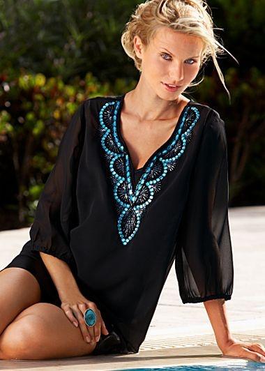 Cute Beach Cover Up ~ black beaded neckline tunic