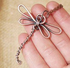 Dragonfly Necklace. Oxidized Copper. Wire by Karismabykarajewelry