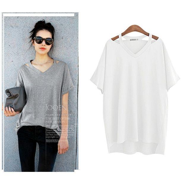 大きいサイズ シンプル 襟元デザイン Tシャツ カットソー 半袖 ラウンドネック 体型カバー レディース トップス