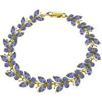 "QP JEWELLERS-WOMENS FASHION-Women's Jewellery-QP 14K Gold 7.80ct Tanzanite Butterfly Bracelet-£795.00-Tanzanite butterfly bracelet handcrafted in solid 14 carat gold. 60 natural tanzanites, grade AA (bluish violet), total 7.8 ct. Marquise cut. Fastened by gold lobster clasp. Fits wrist up to 8.5"""". Includes Certificate of Authenticity, Appraisal and QP Lifetime Warranty."