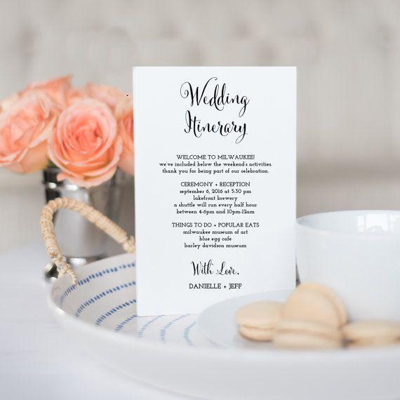 Printable Wedding Itinerary Template Wedding by KarlyKDesignShop