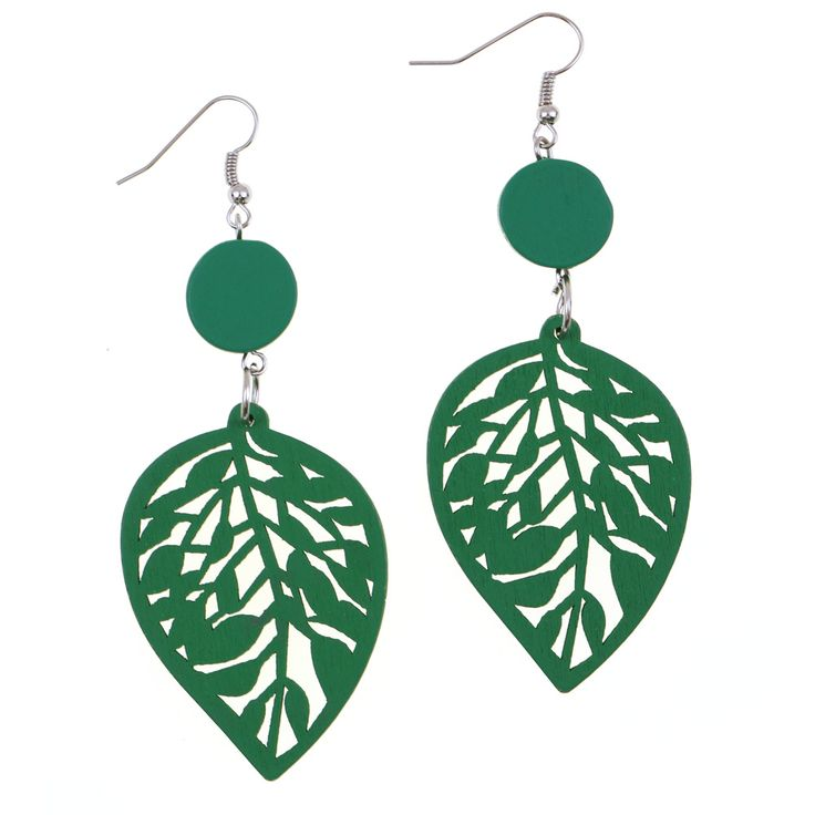Green cut out design leaf wooden drop earrings