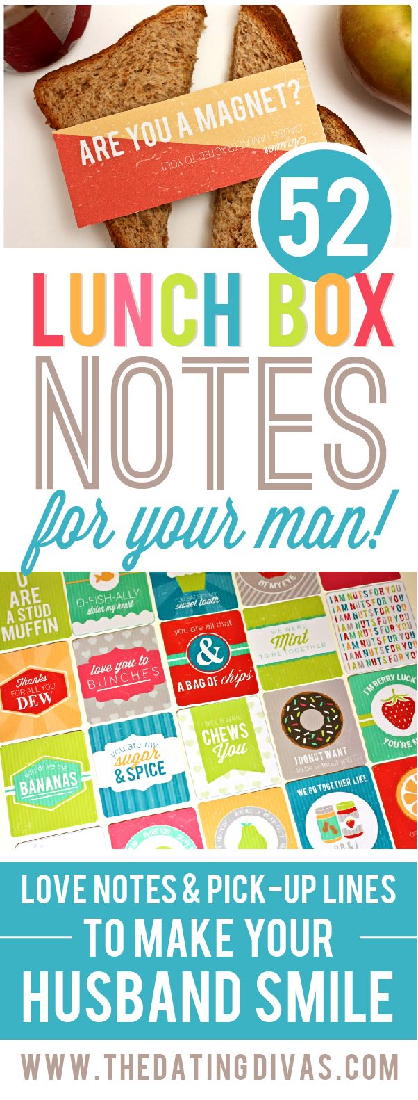 52 Lunch Box Notes and Lunch Box Pick up Lines for your spouse