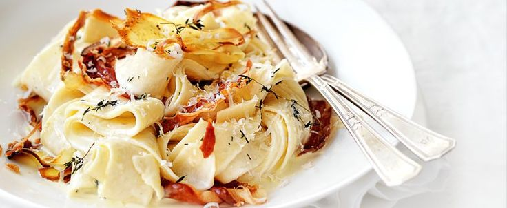 Roasted Parsnip, Thyme & Pancetta Pappardelle with Parmesan Cream, brought to you by MiNDFOOD.