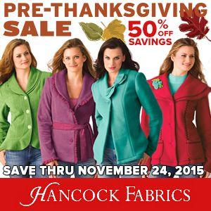 Thanksgiving sales  #blog  Pre-Thanksgiving Sale: Up to 50% OFF at #HancockFabrics   #Thanksgiving #crafts #planetgoldilocks