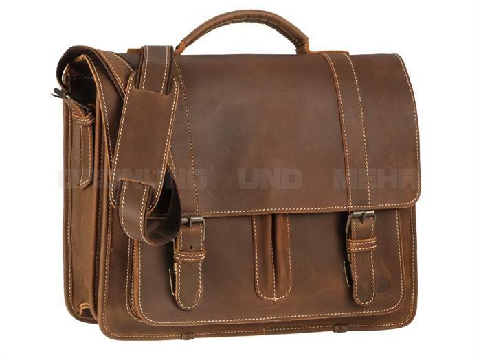 Greenburry BUFFALO - Leder Schultasche Lehrertasche Aktentasche - tabak oder naturbraun