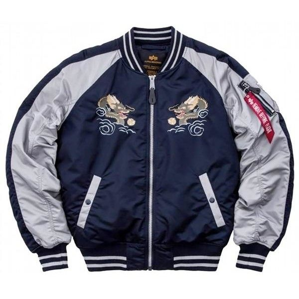 Alpha Industries Navy Japan Dragon Jacket ($295) ❤ liked on Polyvore featuring men's fashion, men's clothing, men's outerwear, men's jackets, outerwear, guy, jackets, tops, mens navy blue jacket and men's embroidered bomber jacket