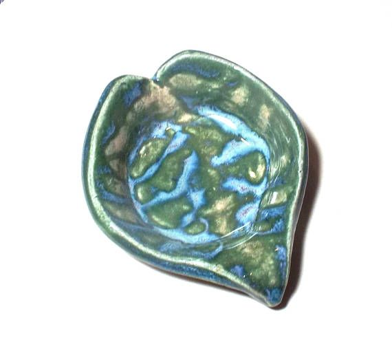 Spoon Rest Green Blue Free Form Heart Leaf Cooking Spoon Tea