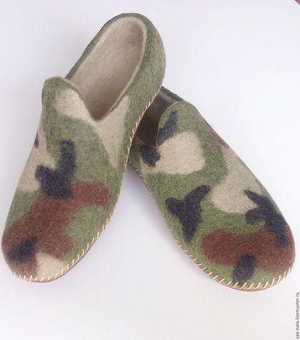 Обувь ручной работы. Ярмарка Мастеров - ручная работа. Купить Тапки валяные мужские. Handmade. Оливковый, мужские тапочки