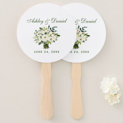 Watercolor Floral Green White Bouquet Wedding Hand Fan - summer wedding diy marriage customize personalize couple idea individuel