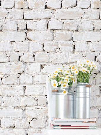 Whitewash bricks, great realistic faux brick design http://www.wowwallpaperhanging.com.au/brick-wallpaper/