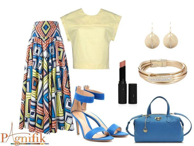 Idée de look - Maxi jupe bleu jaune Stella Jean | Pagnifik
