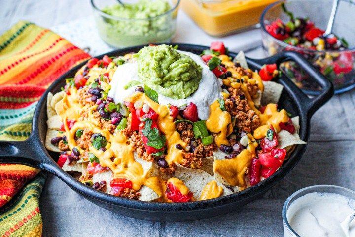 Vegan Nachos Supreme With Spicy Barbecue Tofu Recipe In 2020 Nachos Supreme Nachos Supreme Recipe Hearty Dish