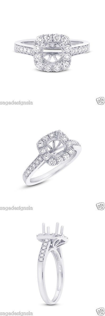 Settings Only 164309: 14K White Gold Round Semi Mount Diamond Cushion Halo Engagement Ring Setting -> BUY IT NOW ONLY: $1280.0 on eBay!