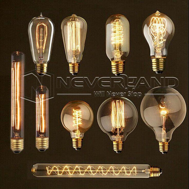 E27 40W Edison Vintage Retro Glühlampe Kohlefaden Lampe Nostalgie Antik 220V Neu