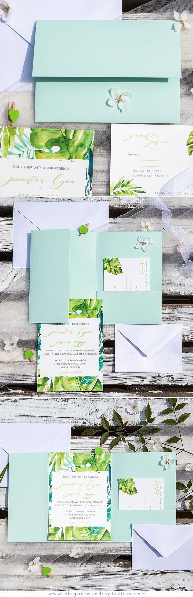 wedding invitation mint green%0A into the tropics  u     tropical leaves inspired invitation with mint pocket  fold EWDH