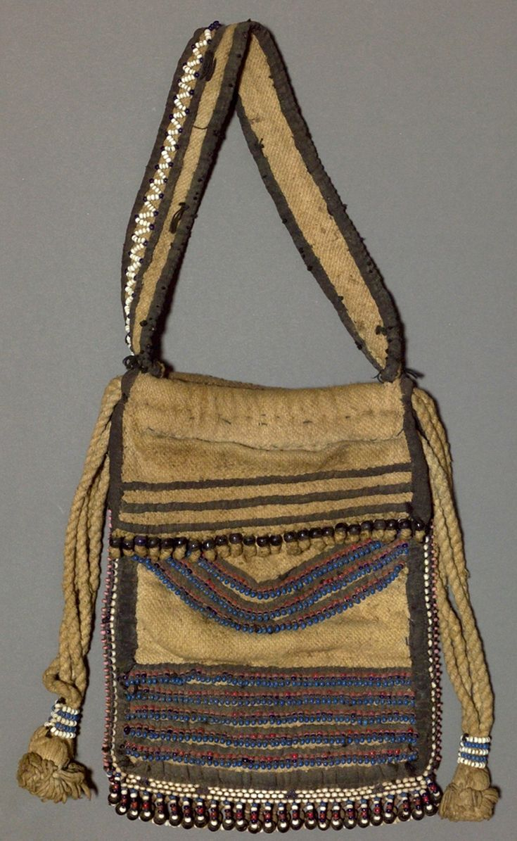 Africa | Tobacco bag ~ ingxowa ~ from the Thembu people of South Africa | Glass beads, wool, rope and fiber | ca. 1940.
