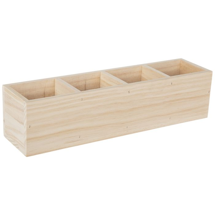 Rectangle Compartment Wood Box In 2020 Wood Boxes Wood Crafts