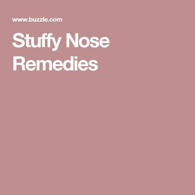 Stuffy Nose Remedies