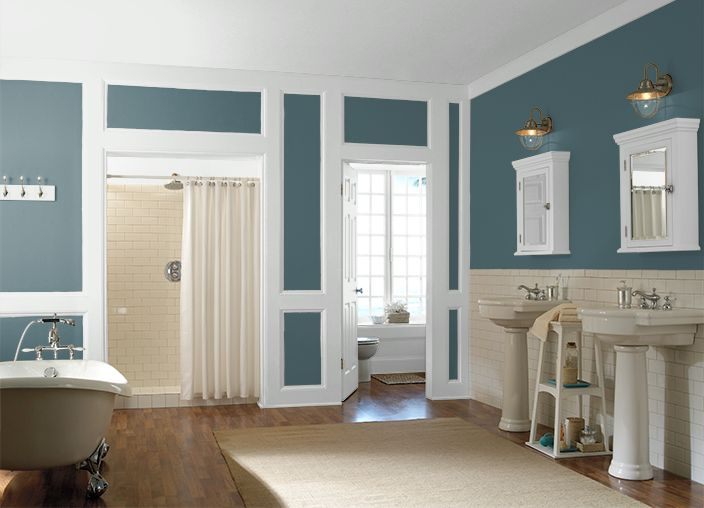Behr sophisticated teal bathroom paint color mom dad Sophisticated paint colors for living room