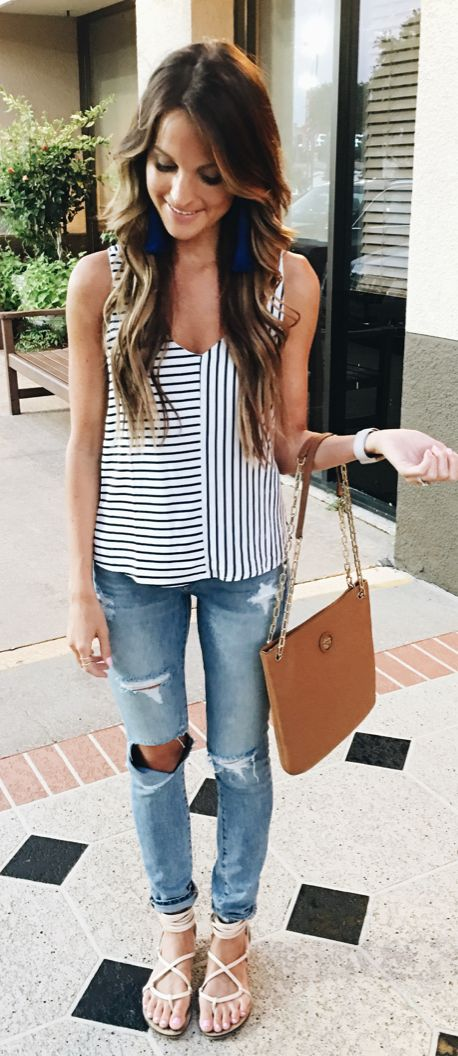 #spring #outfits Striped Tank & Destroyed Bleached Jeans