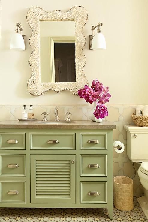 Gorgeous cottage bathroom features upper walls painted ...