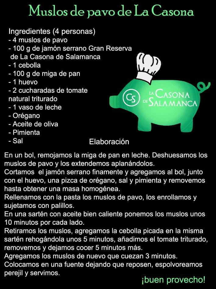 Hoy una de nuestras recetas. MUSLOS DE PAVO DE LA CASONA. Seguro que os gusta. http://www.jamonibericosalamanca.es