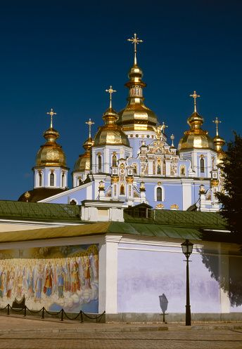 St Michael's Cathedral, Kyiv, Ukraine. Beautiful, interesting city. We never had a bad restaurant meal here.