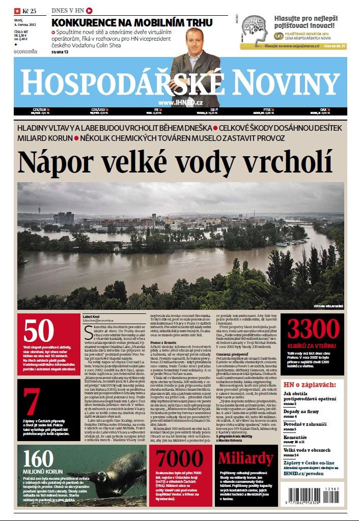 Titulní strana HN 4.6.2013 - Povodně