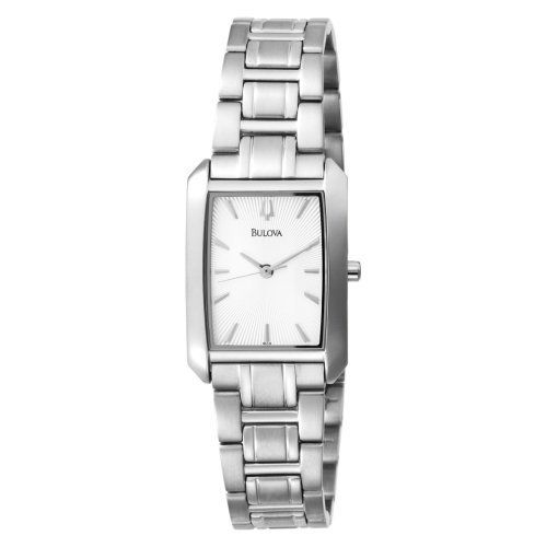 Bulova Women's 96L123 Bracelet Silver Dial Watch Bulova. $109.00. Stainless steel case and bracelet. Water resistant to 100 feet. Quality Japanese-quartz movement. Water-resistant to 99 feet (30 M). Curved mineral crystal with silver metalized rim