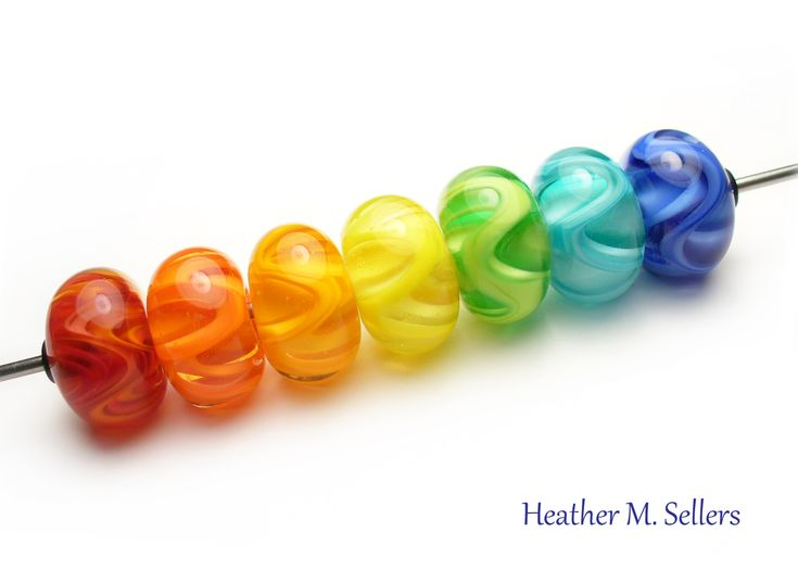 rainbow zingers a set of bright lampwork glass beads by heather sellers art glass