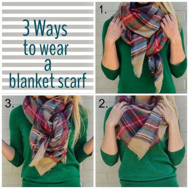three ways to tie blanket scarf