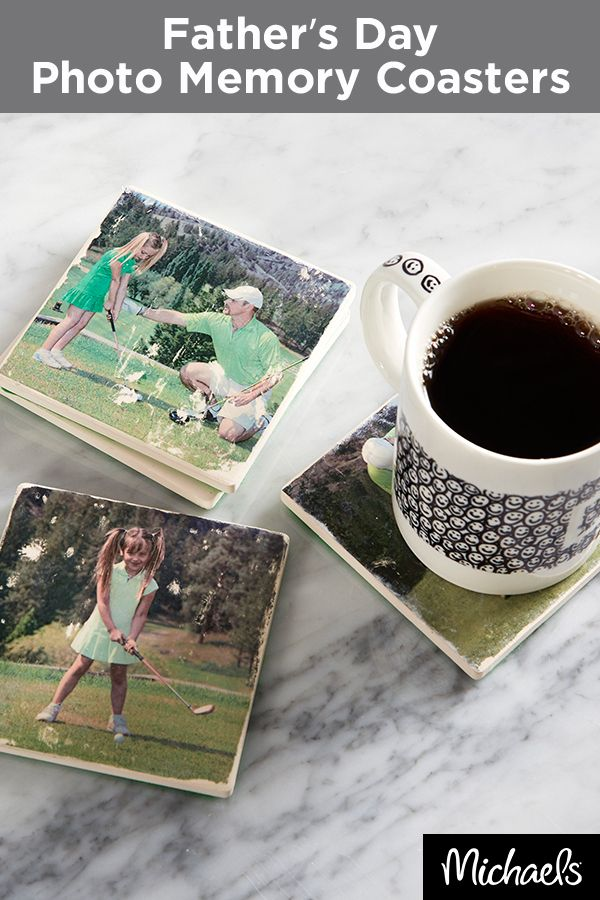 Make dad a gift he'll treasure forever with a set of these one-of-a-kind photo coasters. Find everything you need for this project at your local Michaels store and make this Father's Day gift one to remember.