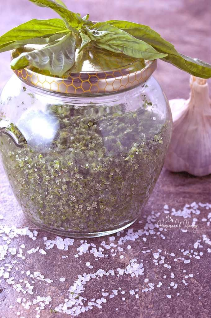 Fresh Herb Salt is so easy to make. Perfect way to preserve all those wonderful garden/market herbs. Lasts for months and makes an awesome gift too.