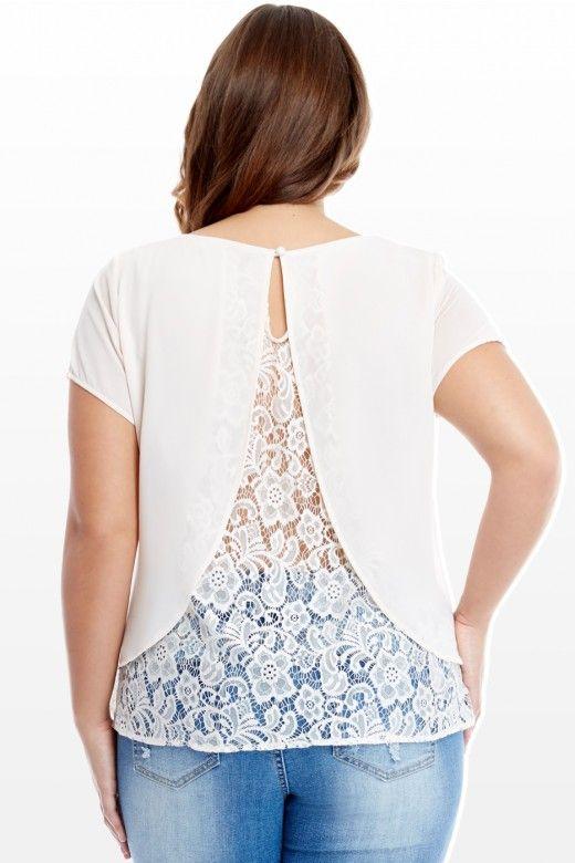 Plus Size Elena Lace Back Top | Fashion To Figure