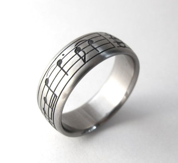 Personalized Music Ring Custom Titanium Ring by Ricksonjewellery