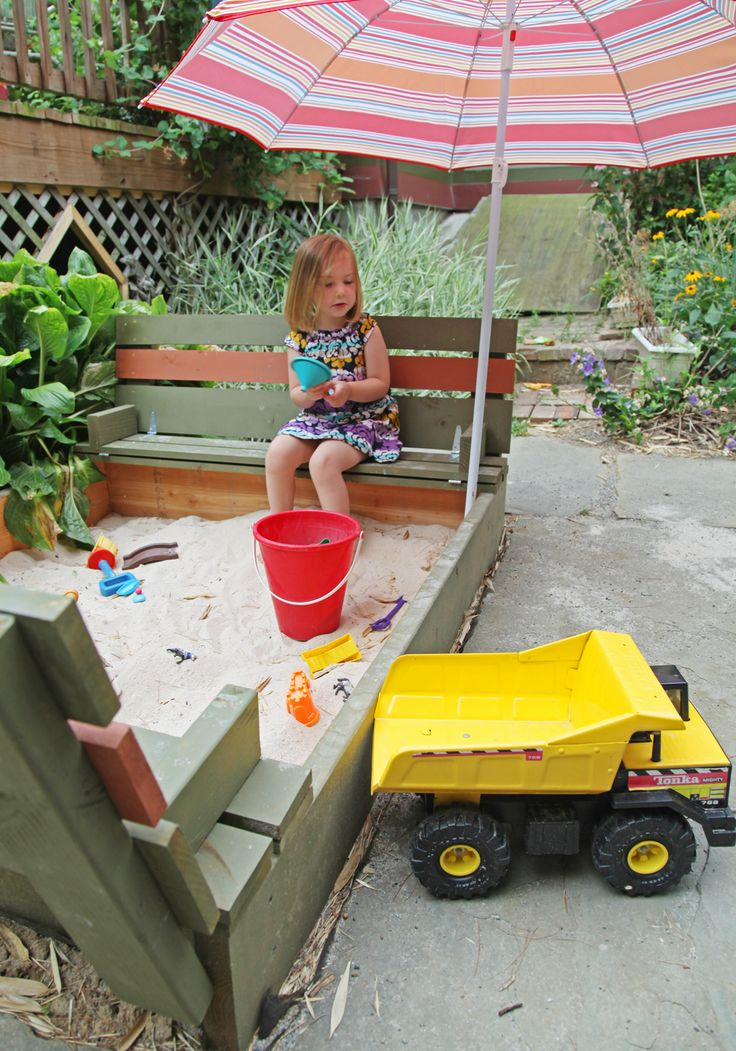 DIY Sandbox with Lid & Benches | Stately Kitsch @Laura Jayson Morgan think Josh can make this for Em?