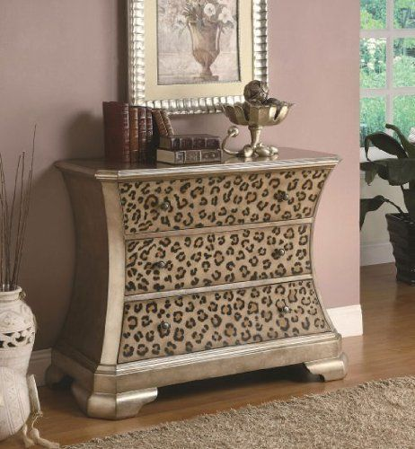 Diva Print Accent Cabinet by Coaster Furniture by Coaster Home Furnishings. $498.71. Leopard print. Durable construction. Contemporary. Diva Print Accent Cabinet by Coaster Furniture. Coaster realizes the importance of your home, which is why they have an endless variety of furniture in countless styles and designs. The designs are capable of fitting the needs all around the home and the quality is at a level you can trust. This diva leopard cabinet features three...