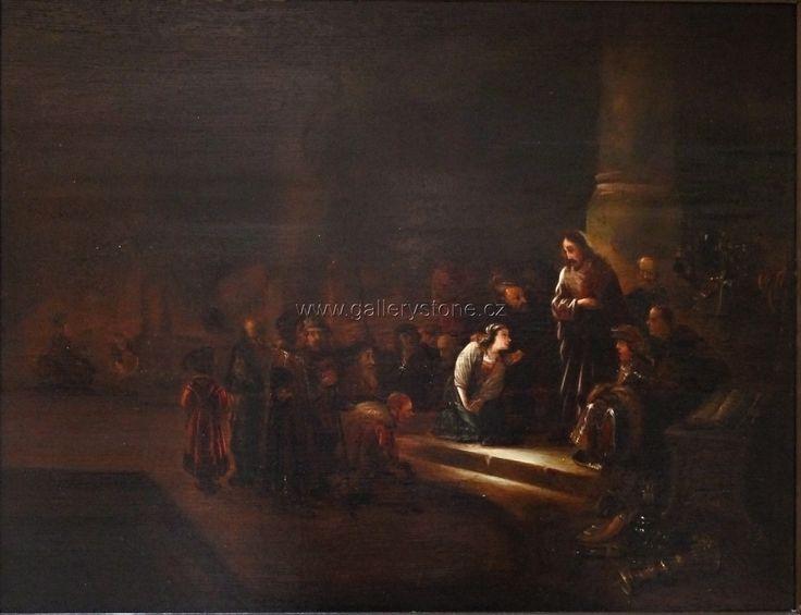 Rembrandt ? Anonym - Středoevropský maíř 19. století - Kristus a cizoložnice - Olej na dřevě,69x58 cm