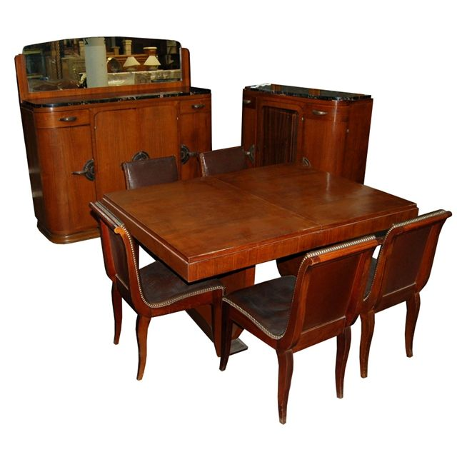 Eleven Piece Three Chairs Not Shown Walnut Burl Art Deco Dining Suite