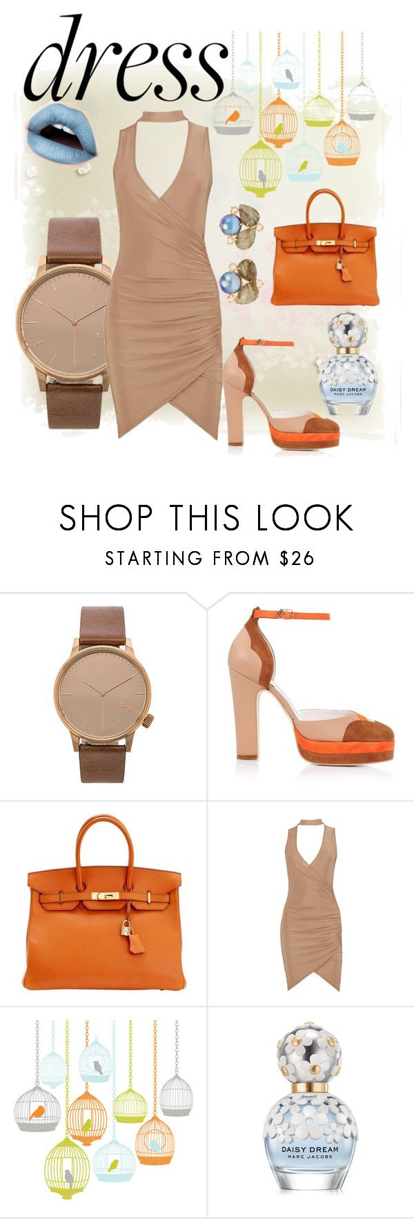 """""""Choker Dress"""" by thebeautyko ❤ liked on Polyvore featuring Komono, Terry de Havilland, Hermès, Boohoo, St. Tropez, Marc Jacobs and Bounkit"""
