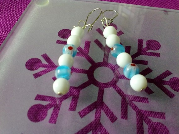 JUST ONE DOLLAR/ blue and white drop earrings by katerinaki106, $1.00
