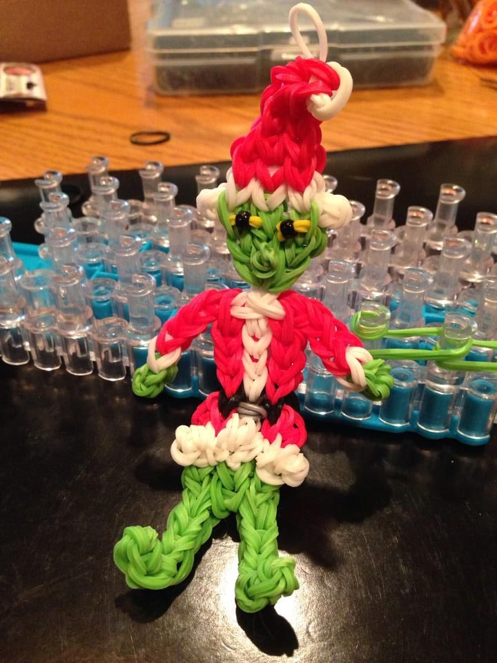 By Donna Lorber. Rainbow Loom FB page. THE GRINCH.
