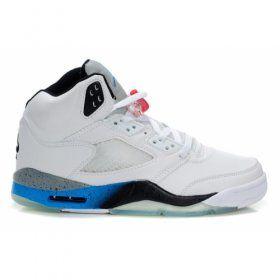 Air Jordan 5 (V) White Black True Blue Cement  $84.00 http://www.jordanpatros.com