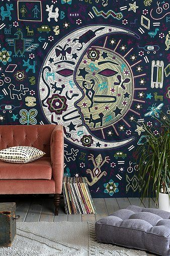 Magical Thinking Mystic Folk Tapestry  http://www.urbanoutfitters.com/urban/catalog/productdetail.jsp?id=29391414&parentid=A_FURN_WALL | http://www.ebay.com/itm/Magical-Thinking-Mystic-Folk-Tapestry-Urban-outfitters-Moon-and-Sun-84-x-100/121889353077
