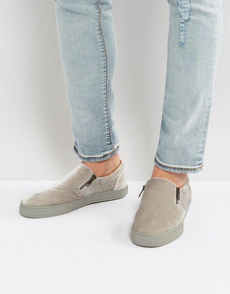 ASOS Slip On Sneakers In Gray Velvet With Zips - Gray